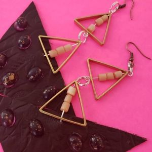 Handcrafted triple triangle leather earrings